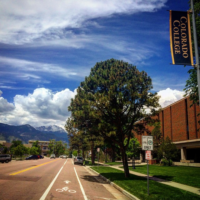 Cache La Poudre Ave on the Colorado College campus, looking at Pikes Peak. Fond memories.