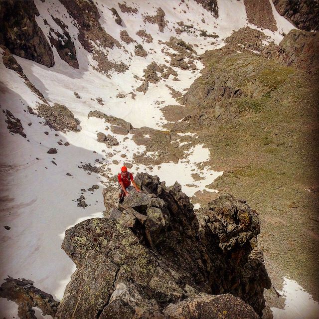 Stefan on Sharktooth's spectacular summit ridge.