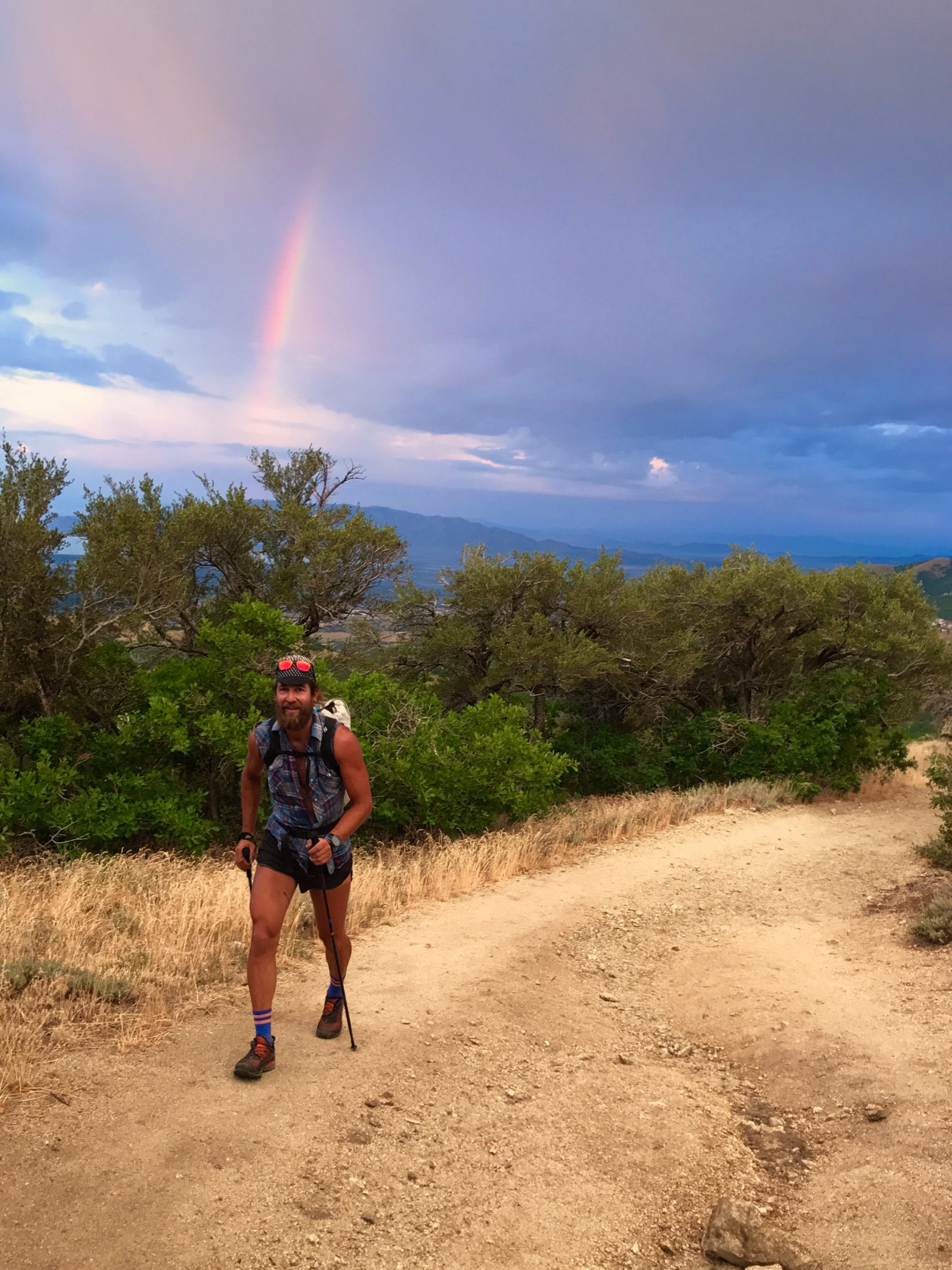 Saving my foot, using those sticks on the approach. That rainbow tho! Photo: Jason Dorais.
